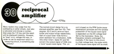 Reciprocal amplifier - uout = C/Uin | Elektor Magazine
