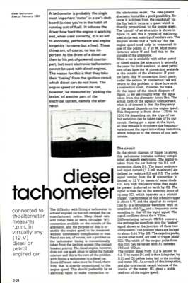 diesel tachometer - connected to the alternator measures