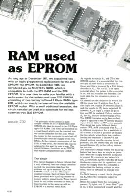 RAM used as EPROM - pseudo 2732 | Elektor Magazine