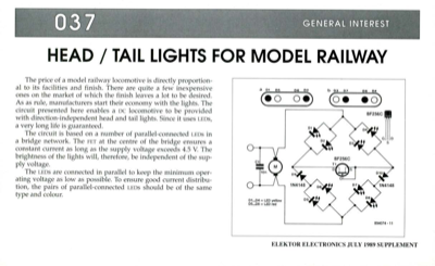 Head / Tail Lights For Model Railway