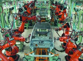Robots in the automobile industry