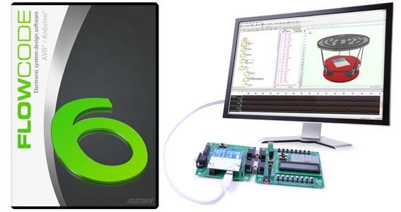 Mais de 50% de Desconto no Conjunto Flowcode 6 para AVR/Arduino mais E-blocks