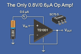 Low-voltage opamp runs on 0.8 V supply voltage
