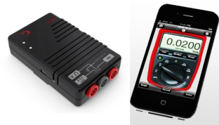 Multimeter module links to iPhone or iPad