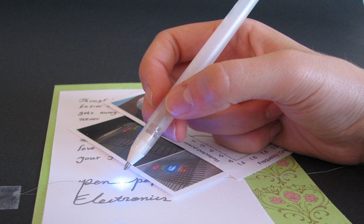 Silver-inked pen writes circuits on non-conductive surfaces