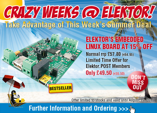 Crazy Summer Deal: Elektor's Embedded Linux Board at 15% Off