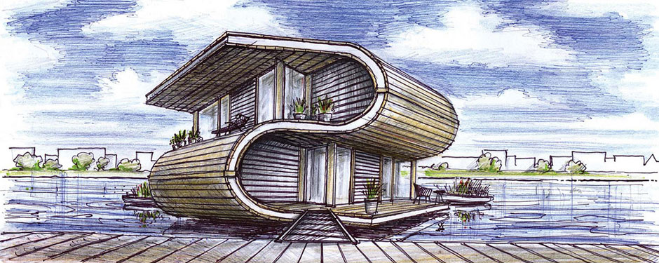 Delft student builds a floating home