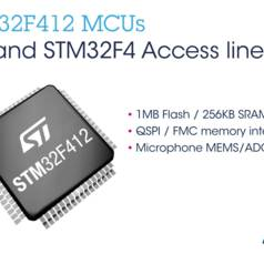 The STM32F412 comes with high-performance interfaces to off-chip memory via dual-mode 100MHz Quad-SPI and a Flexible Memory Controller (FMC) for static memory that allow efficient expansion of the integrated 1MB Flash and 256KB RAM.