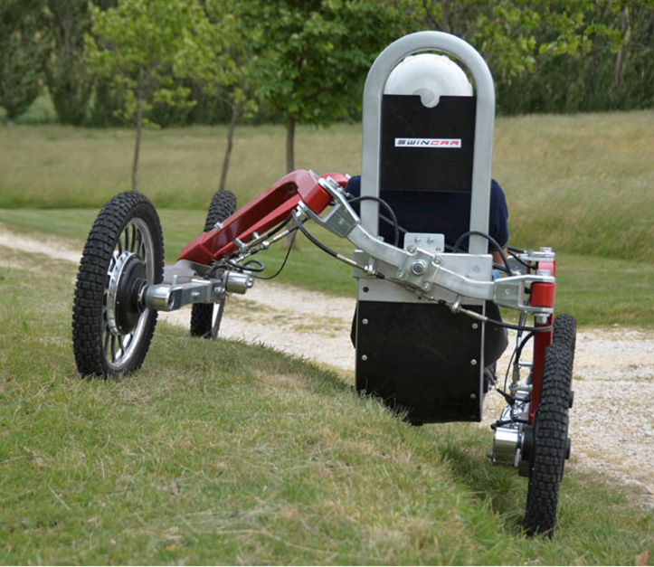 An electric all - terrain vehicle that swings!