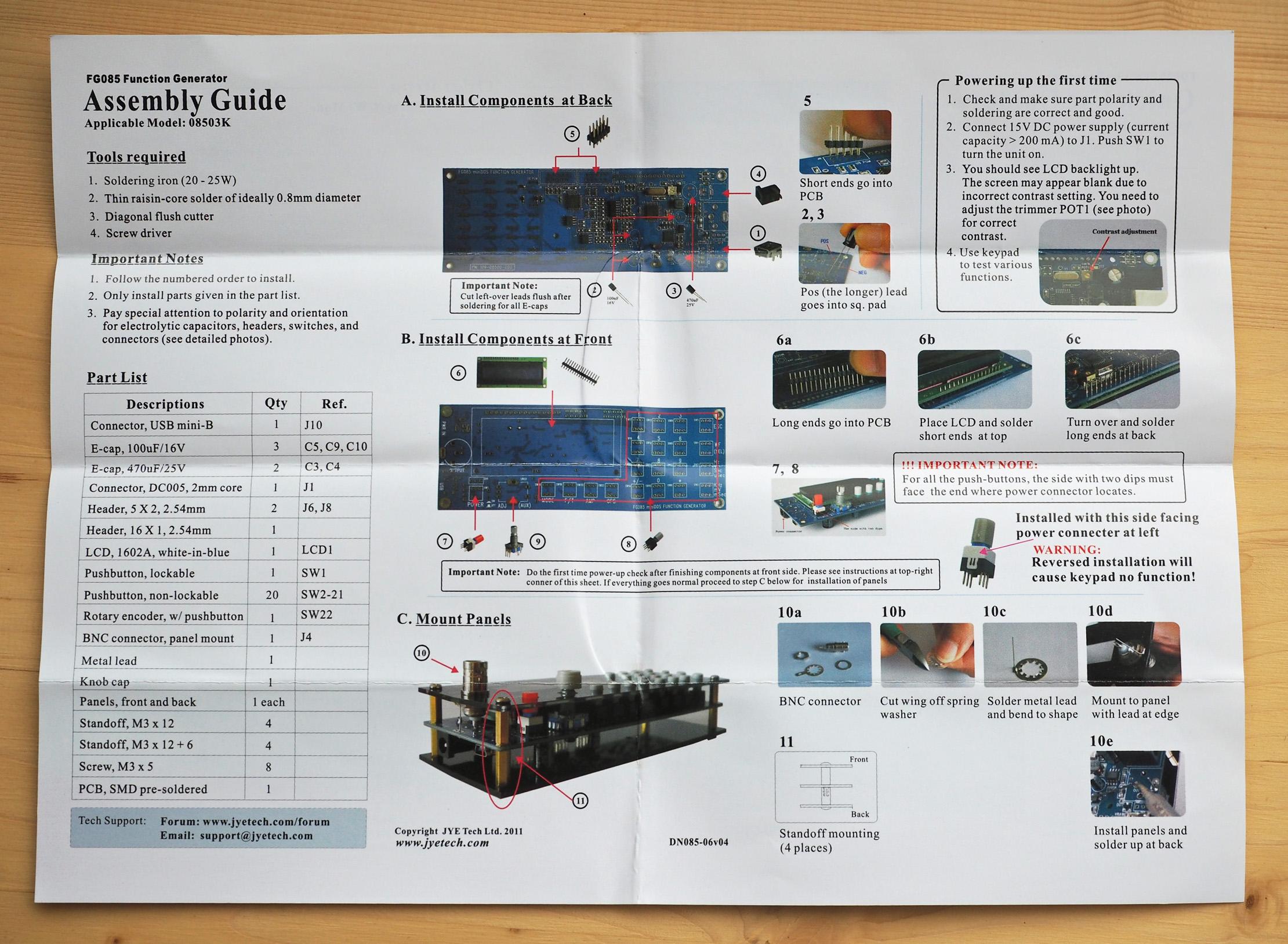 Jyetech Fg085 Demo Function Generator Manual Guide