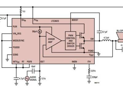 Switching regulator doubles as Class-D audio amplifier