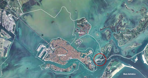 La Certosa Island circled in red
