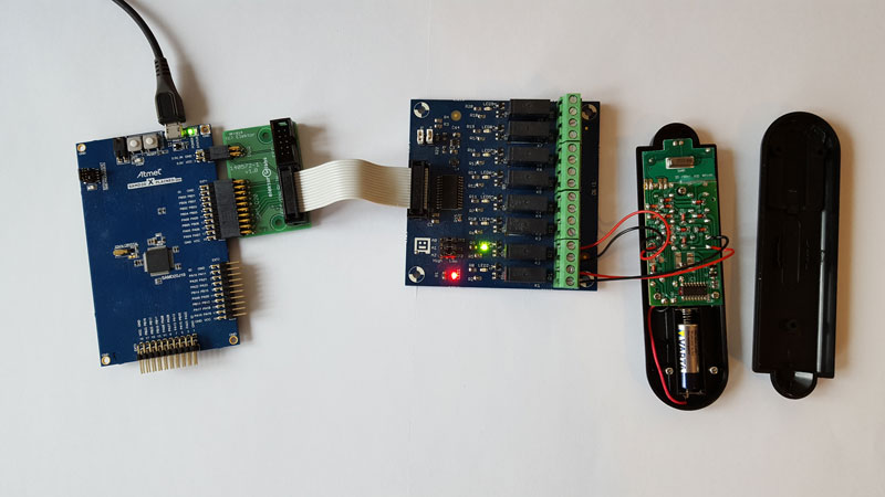The SAM D20 Dev board takes commands via USB to control a remote-controlled socket outlet