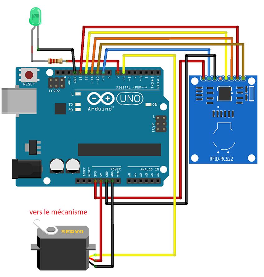 Arduino board with LED, RFID, and servo