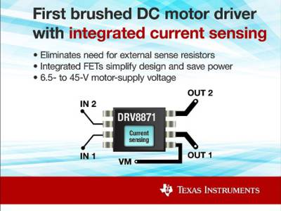 The DRV8871 has current sense and H-bridge driver built-in
