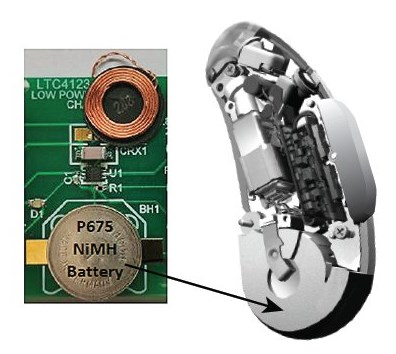 Miniature wireless NiMH charger for hearing aids