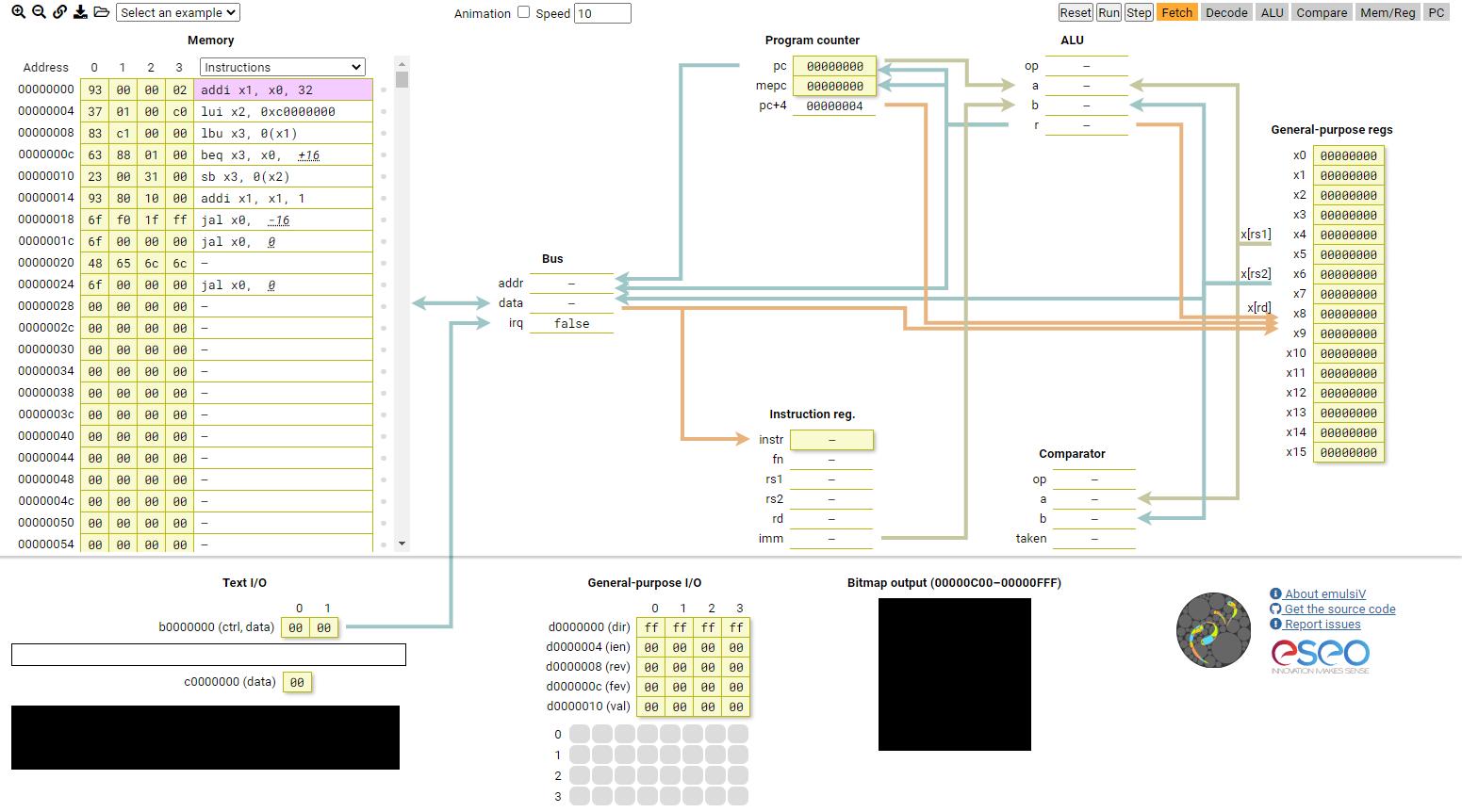 emulsiV RISC-V Simulator screenshot