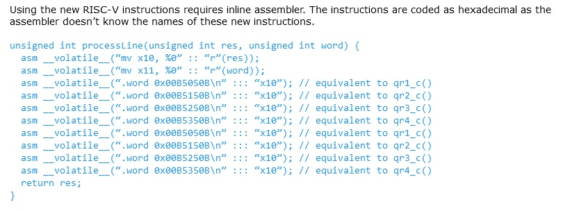 RISC-V instructions.
