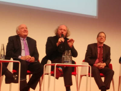 Richard Clemmer, Frank Fitzek and Reinhard Ploss at Electronica Munchen