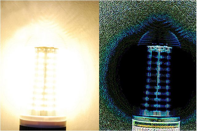 At right, details of the LED luminaire processed with the PST algorithm become visible
