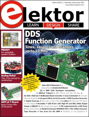 Elektor magazine edition 6/2015 for November & December released in print and pdf